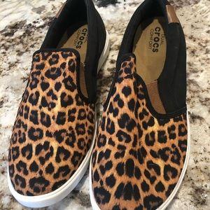 Croc leopard slip on shoes